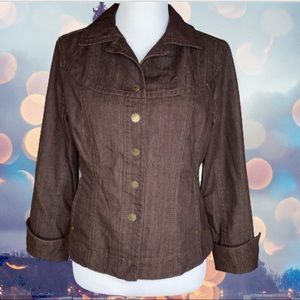 LAL Live A Little Brown Jean Jacket Size Medium